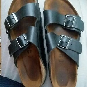 Men's Black Leather Birkenstock Sz 10